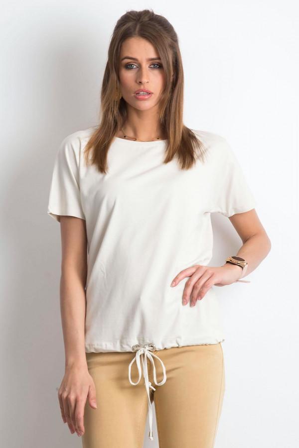 Beżowy t-shirt z wiązaniem Faso