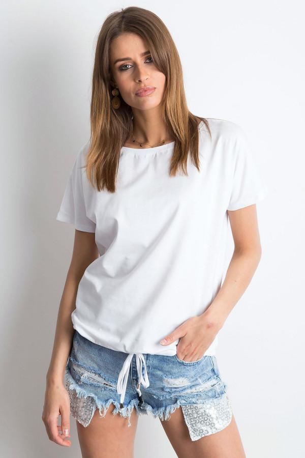 Biały t-shirt z wiązaniem Faso