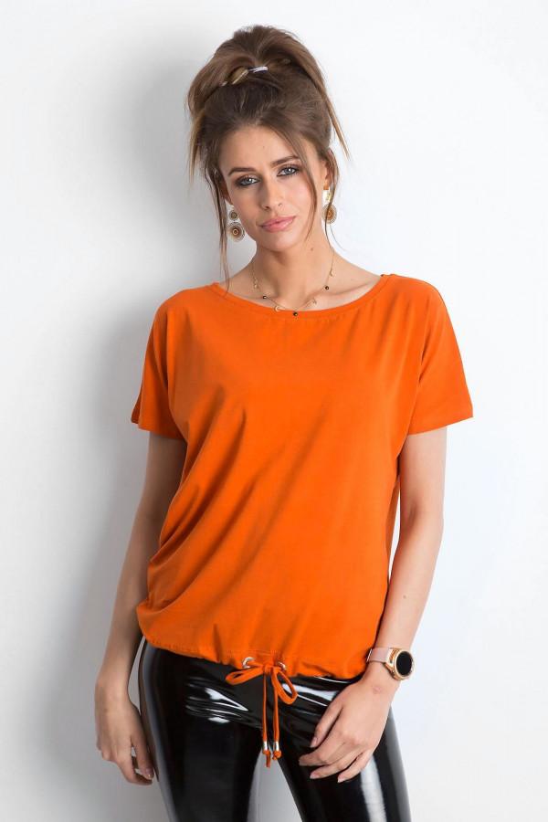 Ciemnopomarańczowy t-shirt z wiązaniem Faso