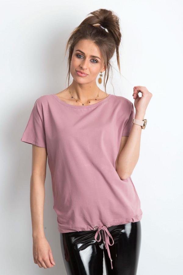 Brudnoróżowy t-shirt z wiązaniem Faso