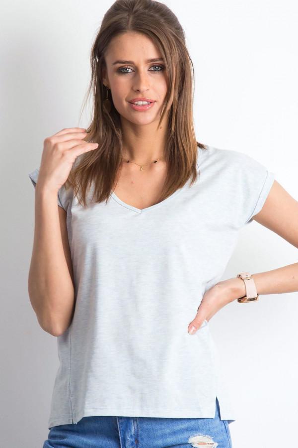 Jasnoniebieski melanżowy t-shirt z dekoltem w serek Secret