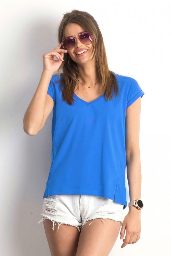 Ciemnoniebieski t-shirt z dekoltem w serek Secret