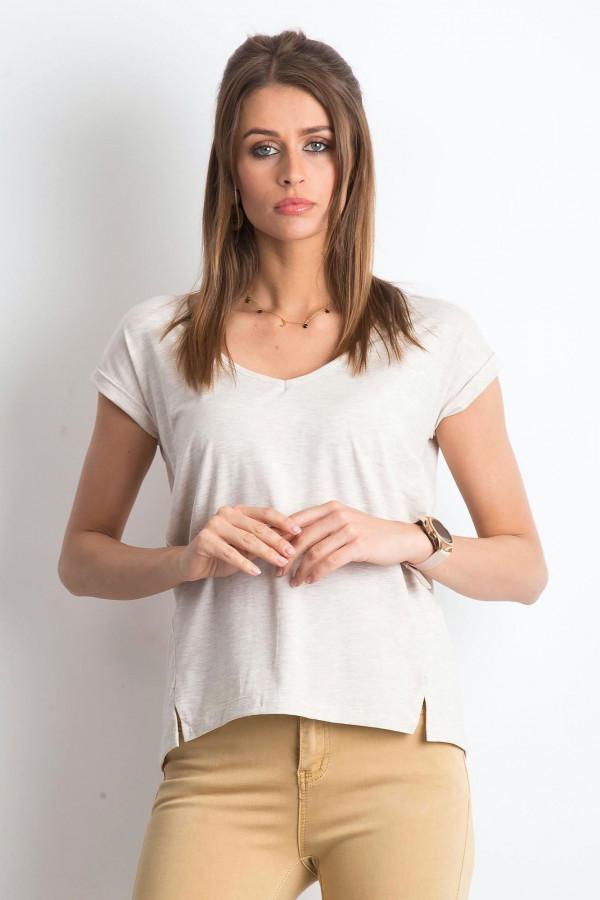 Beżowy melanżowy t-shirt z dekoltem w serek Secret