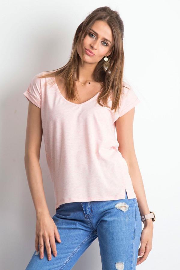 Różowy melanżowy t-shirt z dekoltem w serek Secret