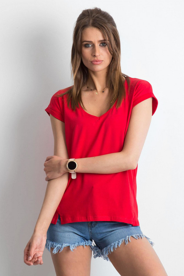 Czerwony t-shirt z dekoltem w serek Secret