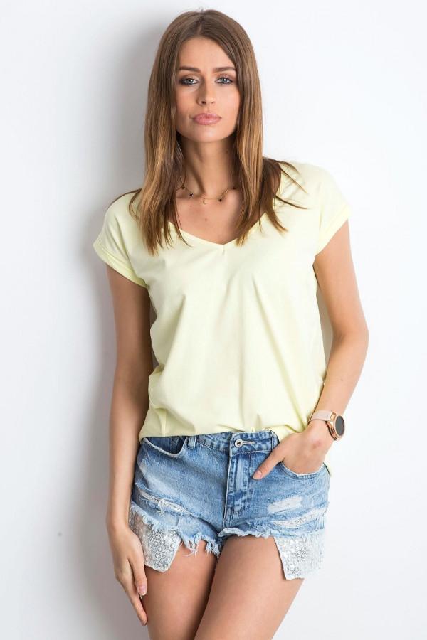 Jasnożółty t-shirt z dekoltem w serek Secret