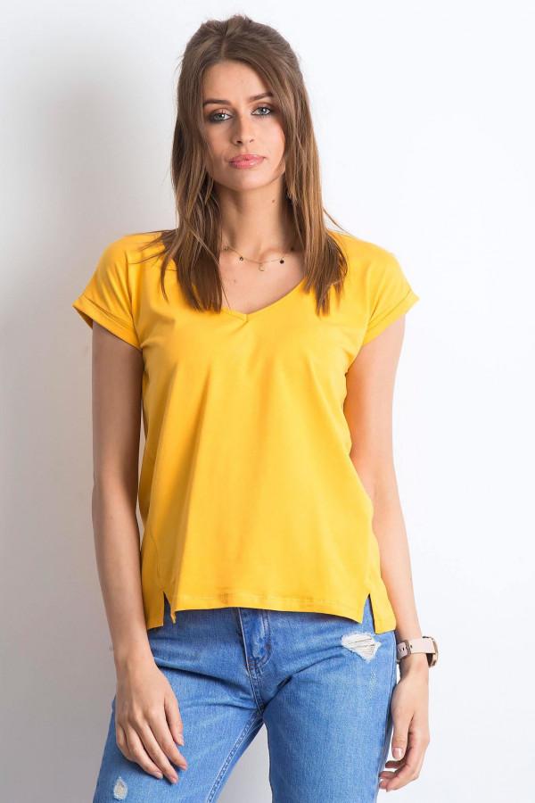 Jasnopomarańczowy t-shirt z dekoltem w serek Secret