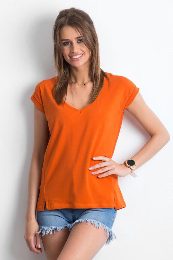 Ciemnopomarańczowy t-shirt z dekoltem w serek Secret