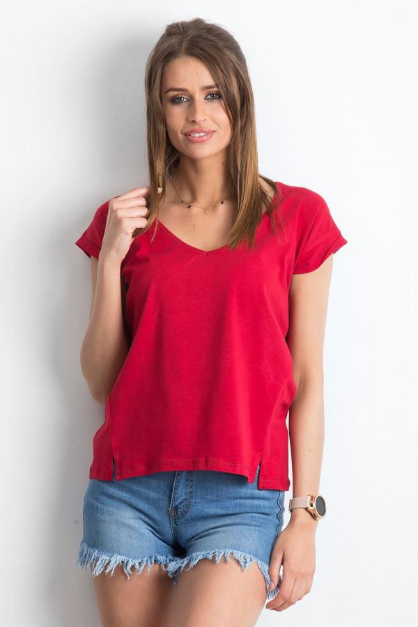 Bordowy t-shirt z dekoltem w serek Secret