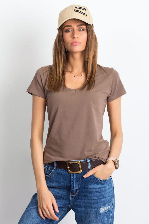 Kawowy t-shirt z dekoltem V-Neck Amy