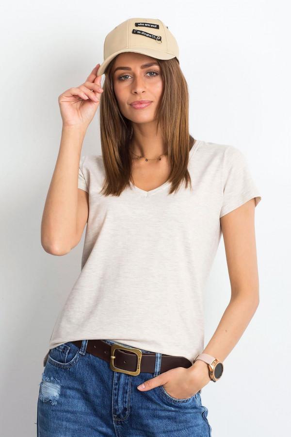 Beżowy melanżowy t-shirt z dekoltem V-Neck Amy