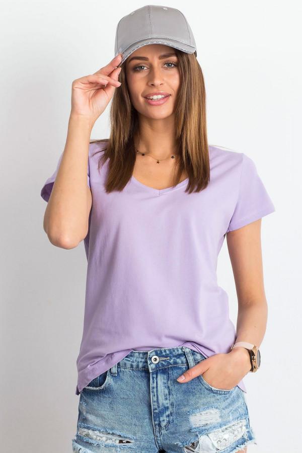 Jasnofioletowy t-shirt z dekoltem V-Neck Amy