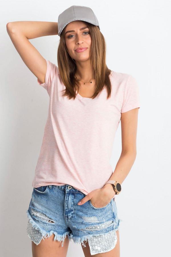 Różowy melanżowy t-shirt z dekoltem V-Neck Amy