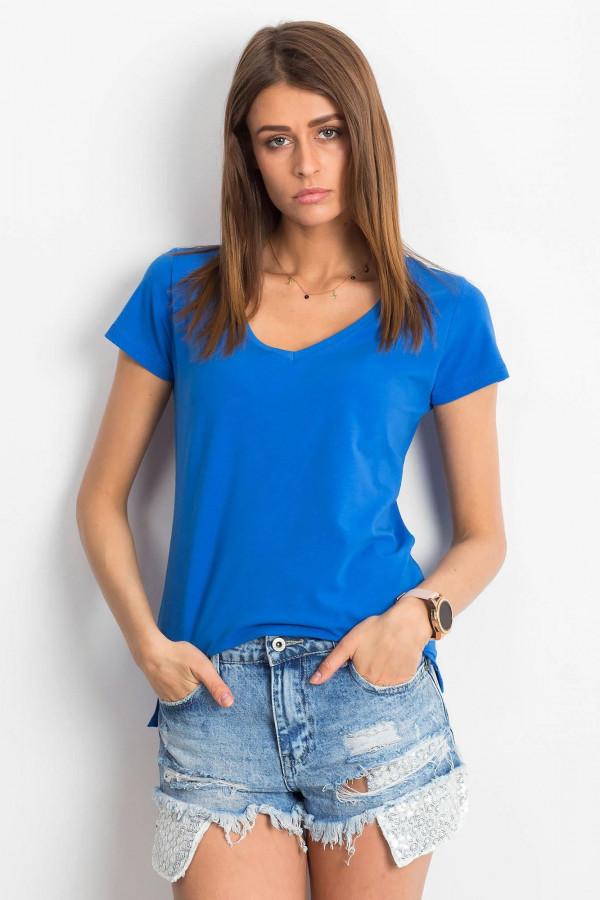 Ciemnoniebieski t-shirt z dekoltem V-Neck Amy