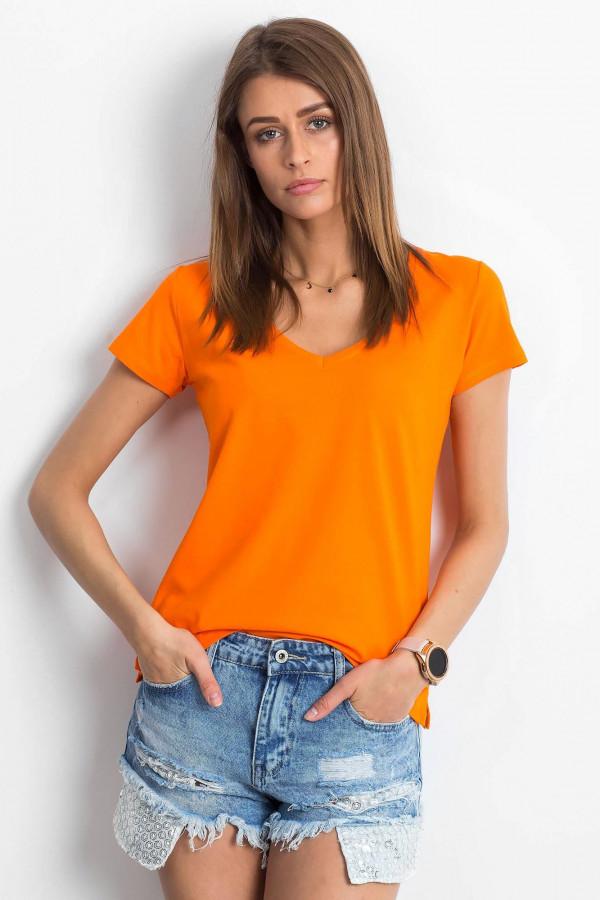 Pomarańczowy t-shirt z dekoltem V-Neck Amy