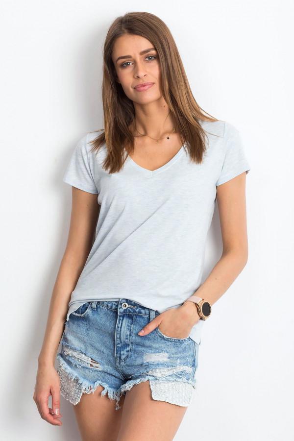 Jasnoniebieski melanżowy t-shirt z dekoltem V-Neck Amy