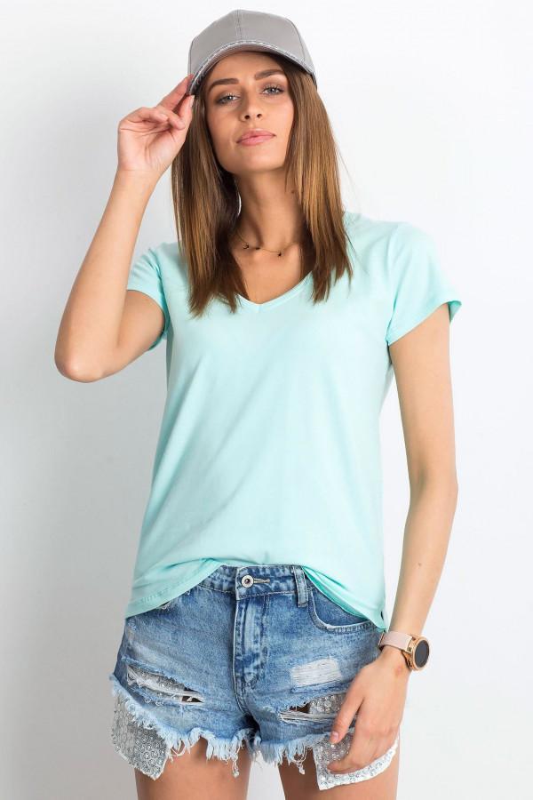 Miętowy t-shirt z dekoltem V-Neck Amy