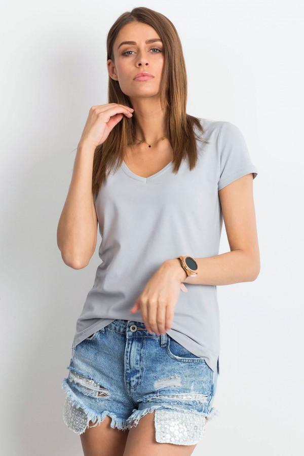 Jasnoszary t-shirt z dekoltem V-Neck Amy