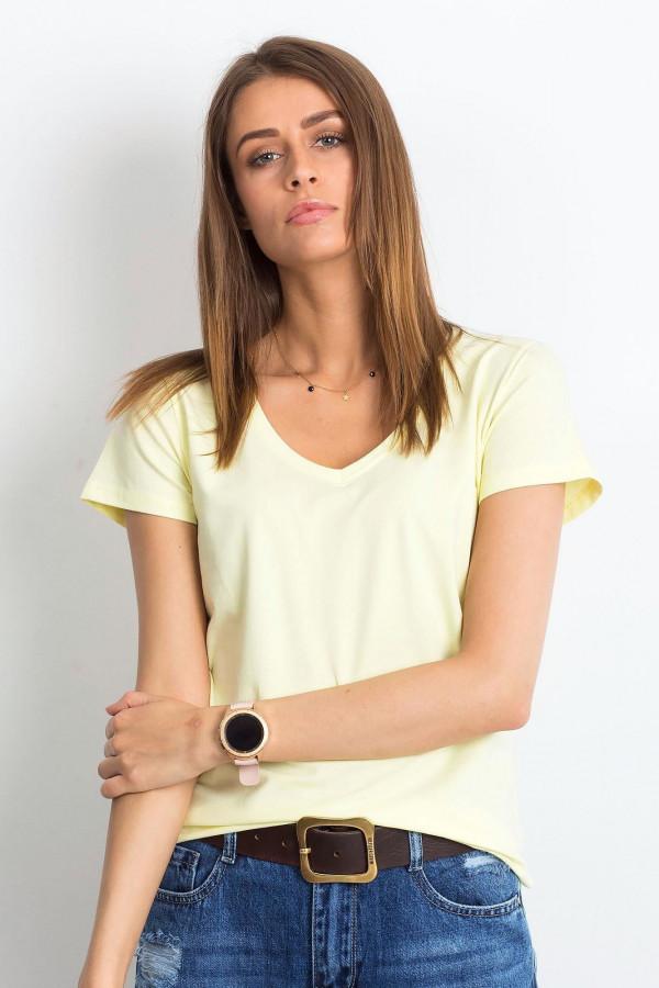 Jasnożółty t-shirt z dekoltem V-Neck Amy