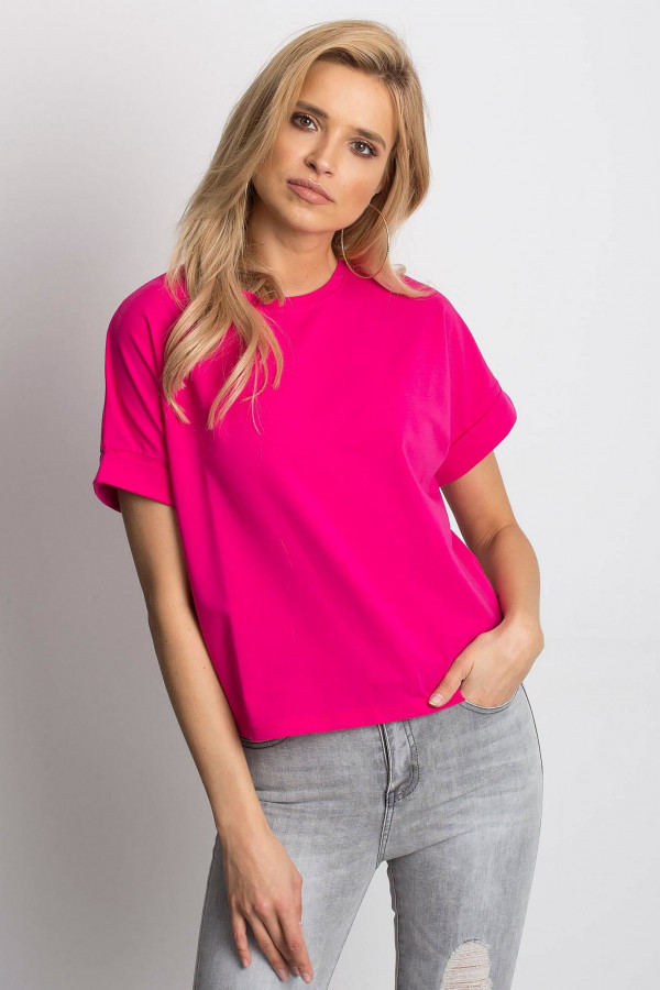 Fuksjowy luźny t-shirt Blink