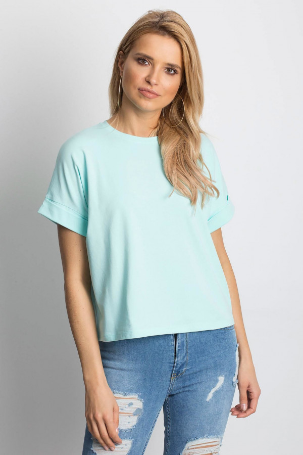 Miętowy luźny t-shirt Blink