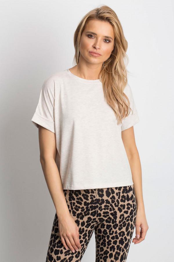 Beżowy melanżowy luźny t-shirt Blink
