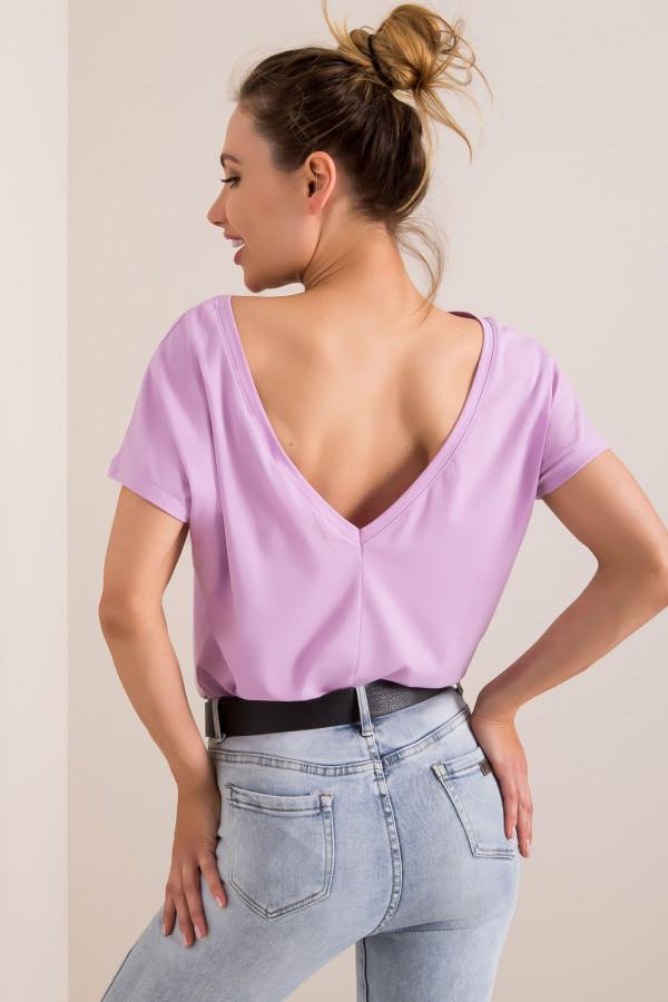Jasnofioletowy t-shirt z wycięciem V na plecach Sharon