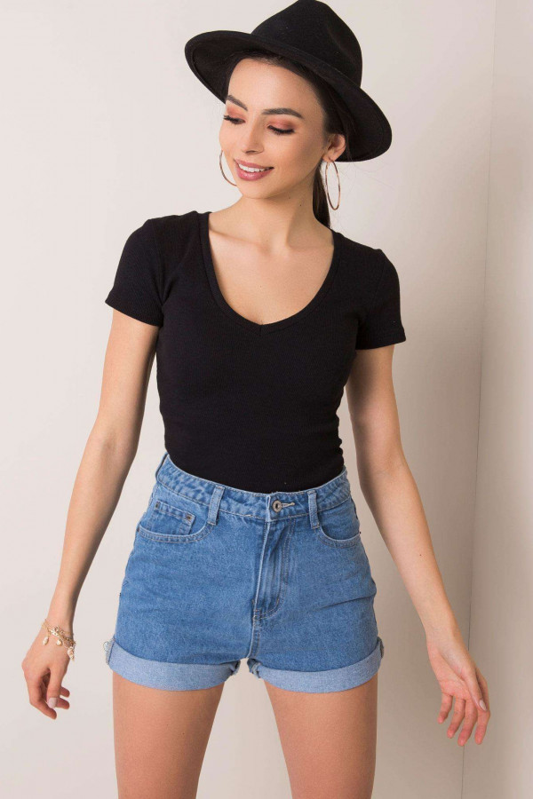 Czarny prążkowany t-shirt Better