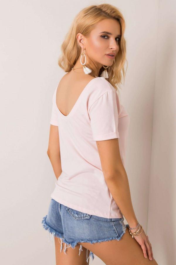 Jasnoróżowy t-shirt z wycięciem O na plecach Vama