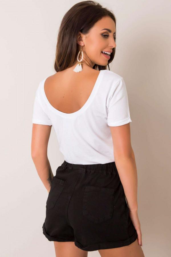 Biały t-shirt z wycięciem O na plecach Vama