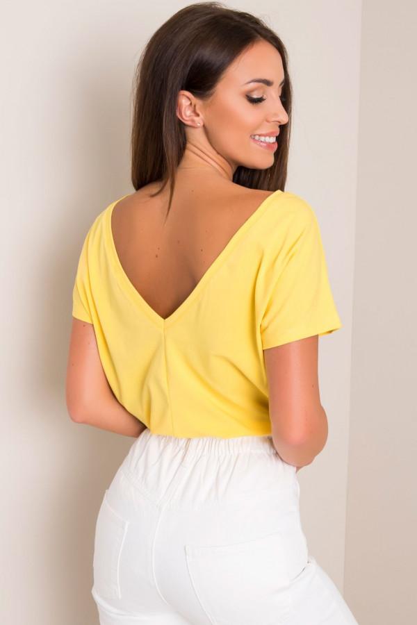 Żółty t-shirt z wycięciem V na plecach Sharon