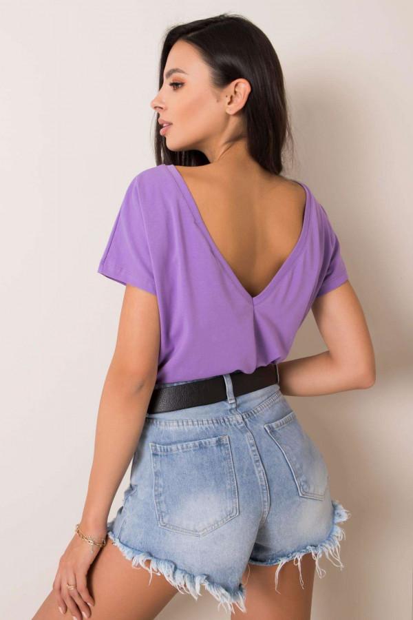 Fioletowy t-shirt z wycięciem V na plecach Sharon