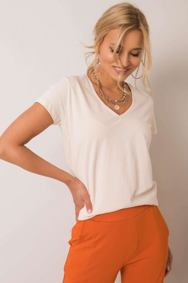 Beżowy pro-ekologiczny t-shirt V-Neck Soft