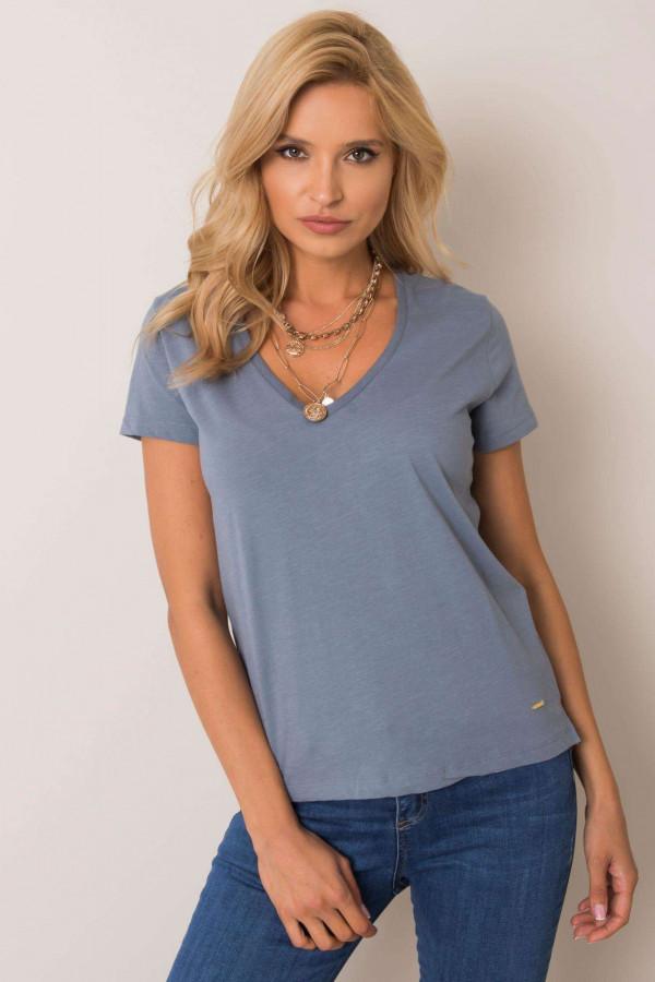 Ciemnoniebieski pro-ekologiczny t-shirt V-Neck Soft