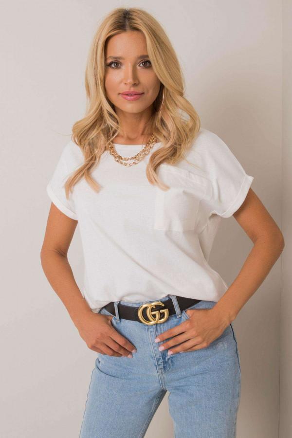 Ecru pro-ekologiczny t-shirt z kieszonką Twig