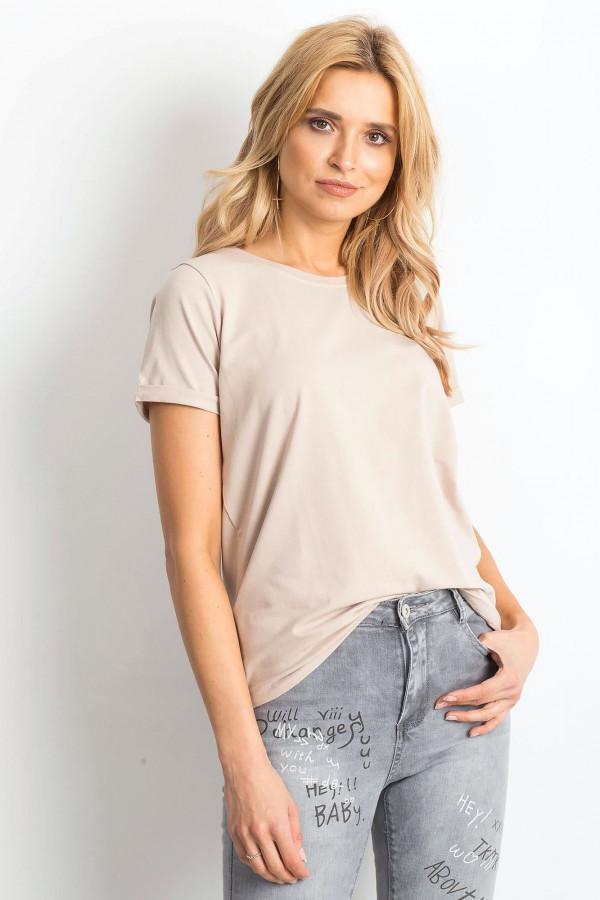 Jasnokawowy t-shirt O-Neck Kasom