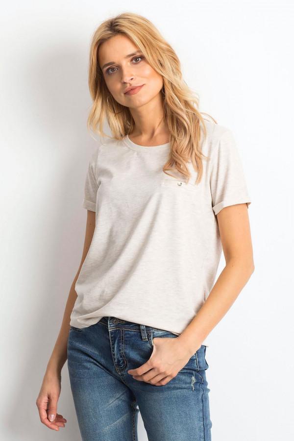 Beżowy melanżowy t-shirt O-Neck Kasom