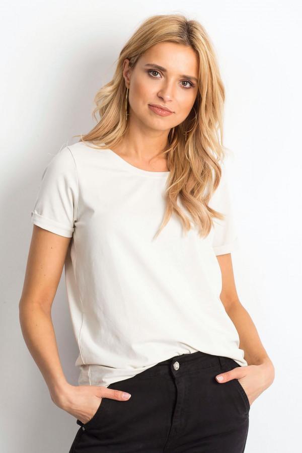 Beżowy t-shirt O-Neck Kasom