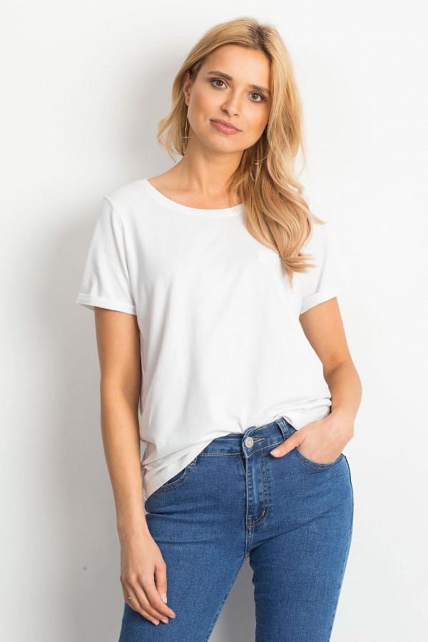 Biały t-shirt O-Neck Kasom