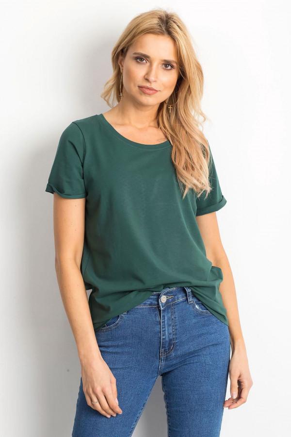 Ciemnozielony t-shirt O-Neck Kasom