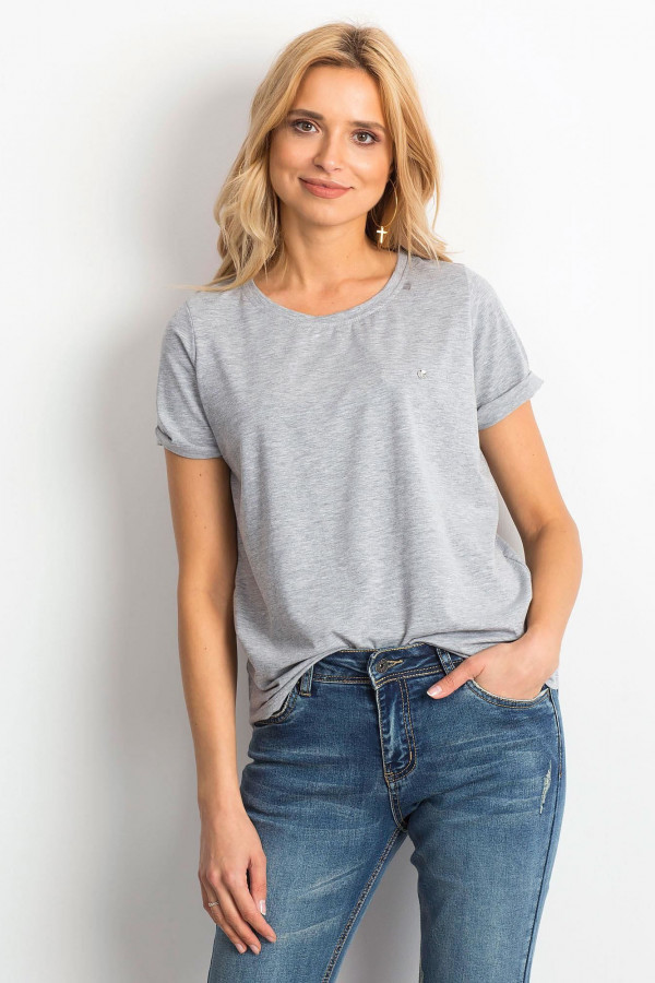 Szary t-shirt O-Neck Kasom