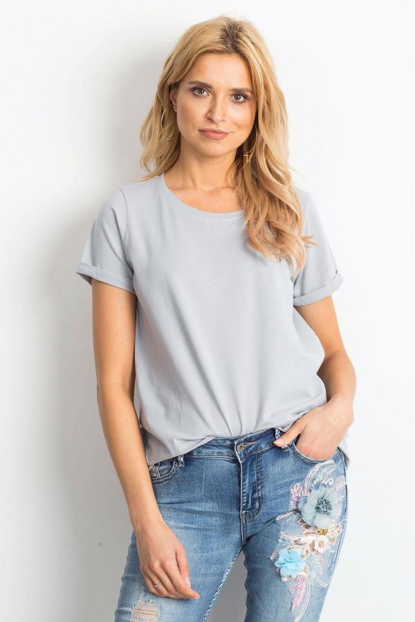 Jasnografitowy t-shirt O-Neck Kasom