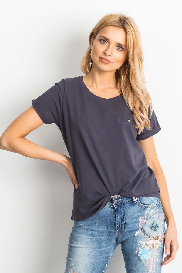 Grafitowy t-shirt O-Neck Kasom