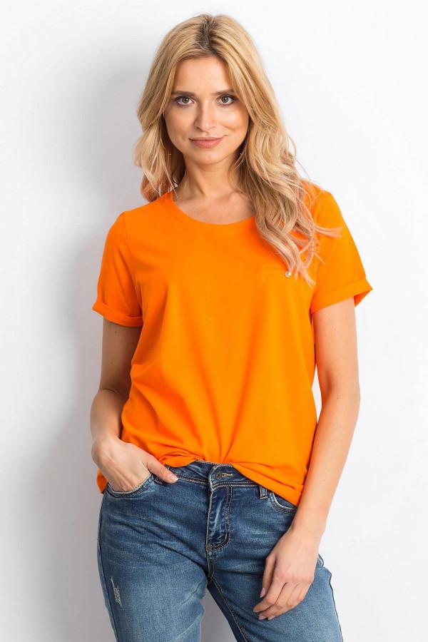 Neonowo pomarańczowy t-shirt O-Neck Kasom