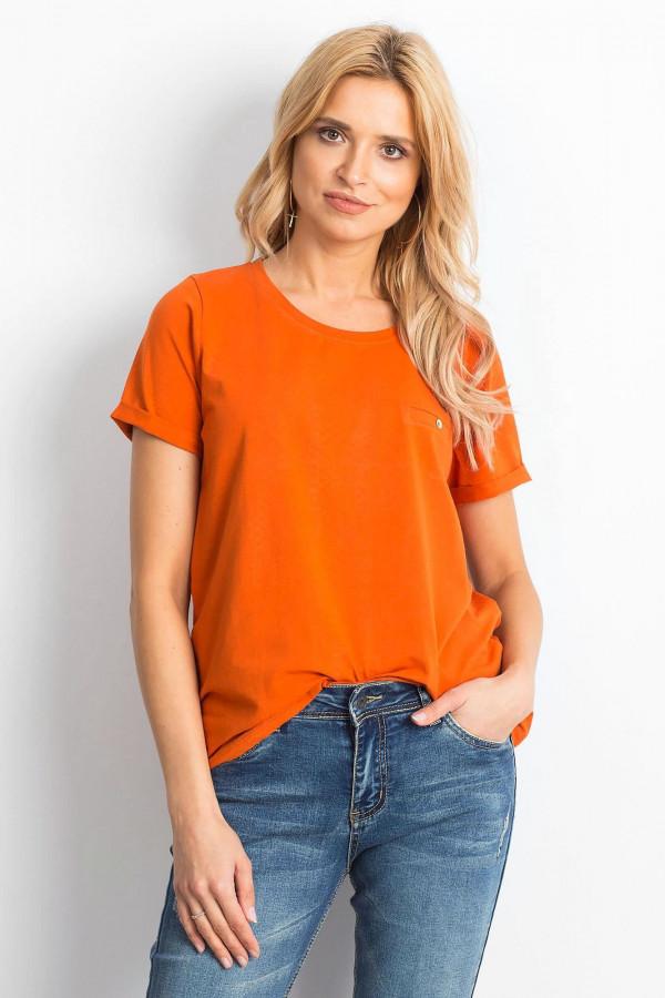 Ciemnopomarańczowy t-shirt O-Neck Kasom