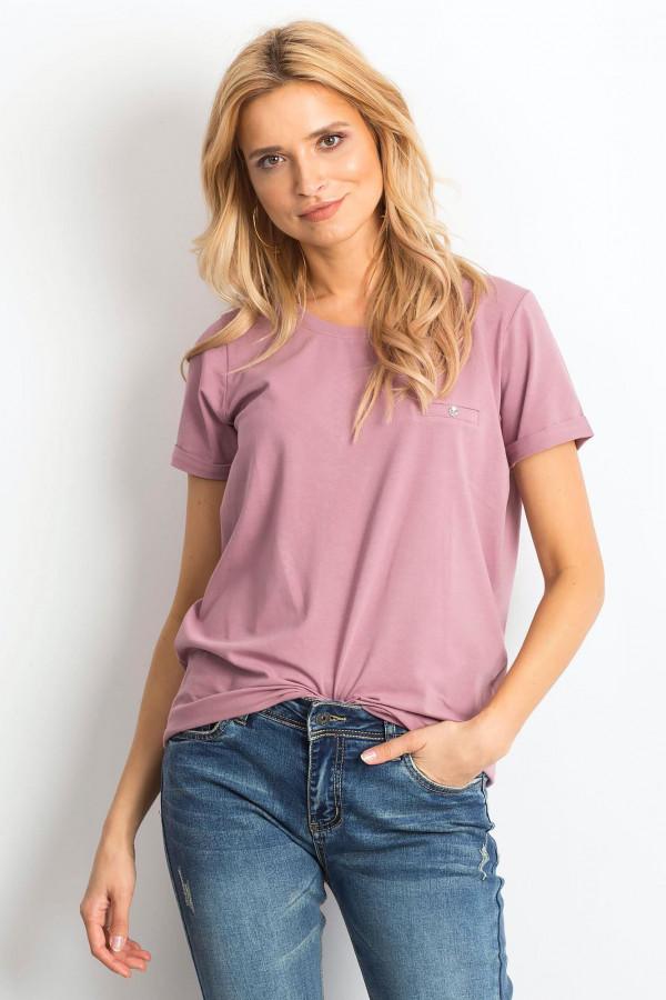 Brudnoróżowy t-shirt O-Neck Kasom