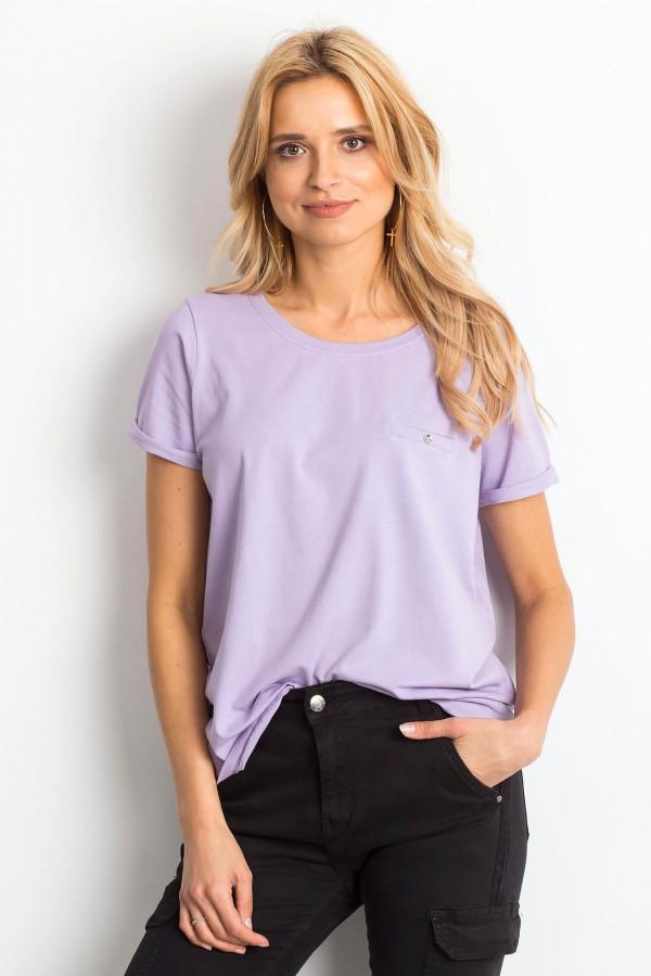 Jasnofioletowy t-shirt O-Neck Kasom