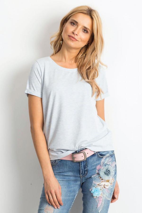 Niebieski melanżowy t-shirt O-Neck Kasom