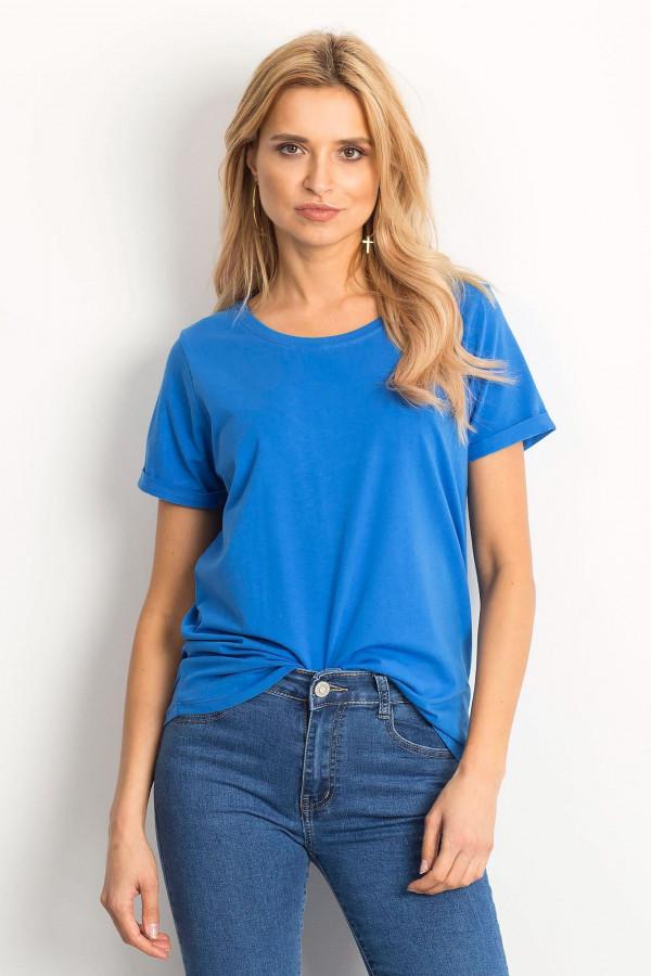 Ciemnoniebieski t-shirt O-Neck Kasom