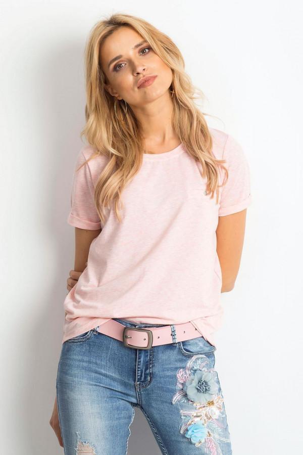 Różowy melanżowy t-shirt O-Neck Kasom